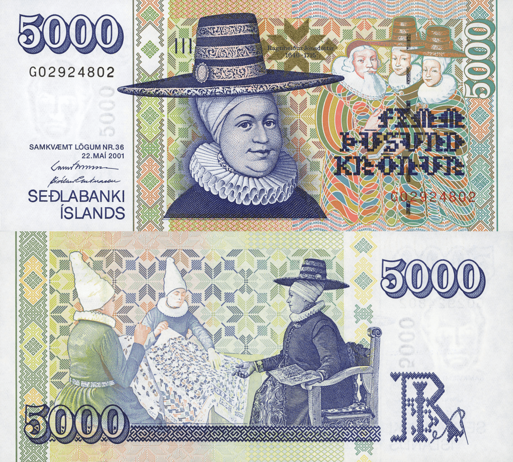 5,000 (5000) Kronur Iceland's Banknote