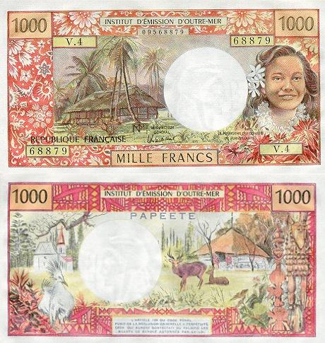 1,000 (1000) Francs Tahiti's Banknote