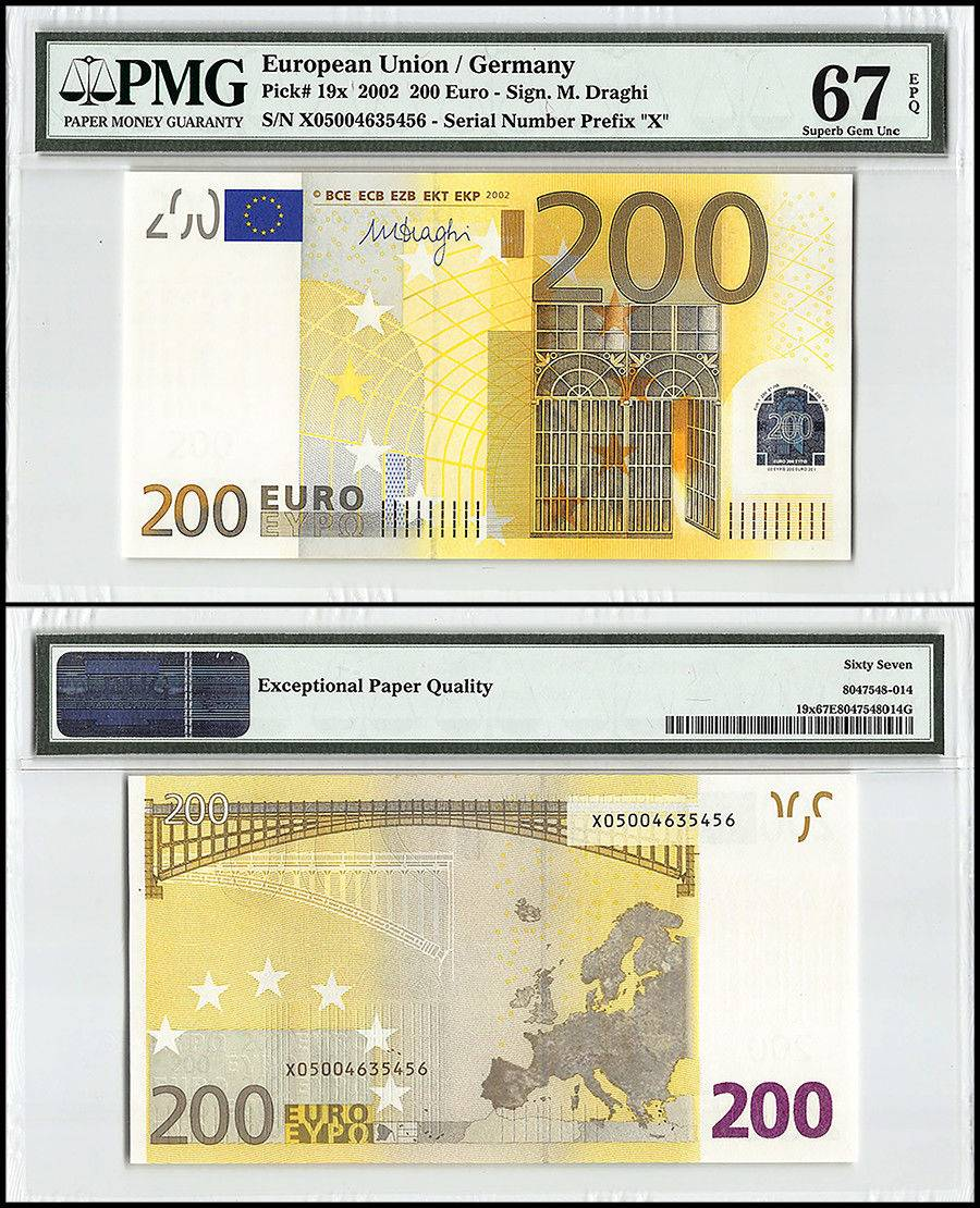 European Union (Germany) 200 Euro, 2002, P-19x, Prefix X, Bridges, Map, PMG 67