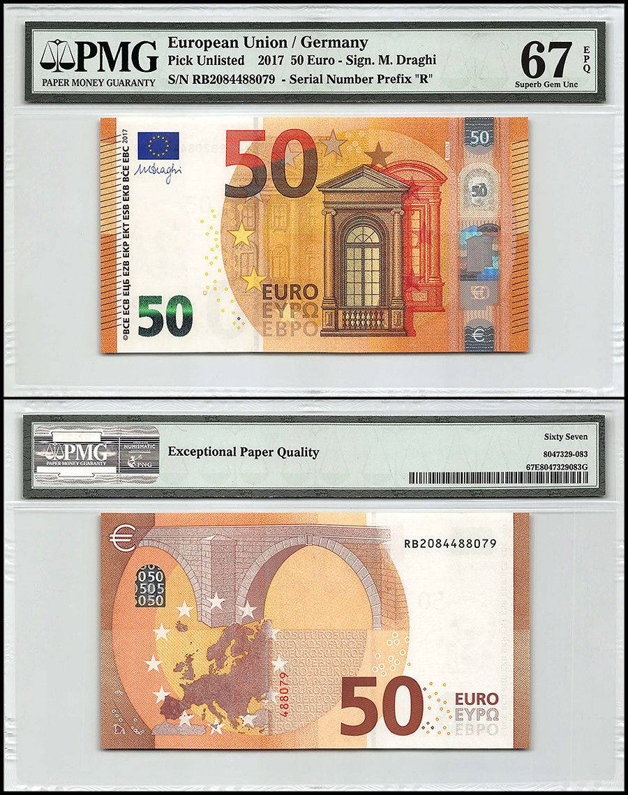 European Union (Germany) 50 Euro, 2017, P-NEW Prefix R, PMG 67