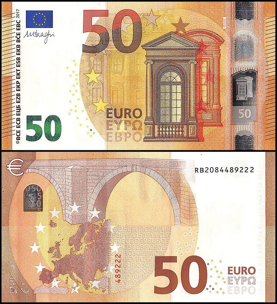 European Union - Germany 50 Euros Banknote, 2017,P-23,UNC,Signature Mario Draghi