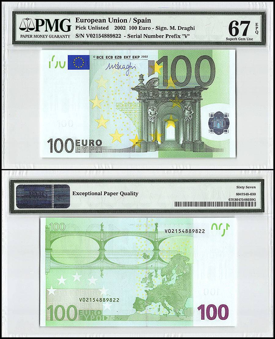 European Union (Spain) 100 Euro, 2002, P-NEW, Prefix V, Union Flag, PMG 67