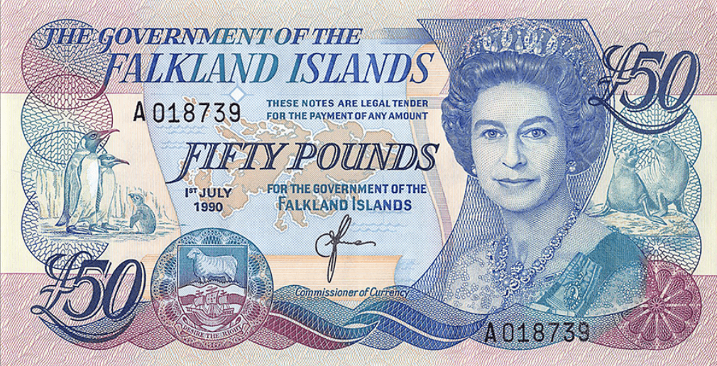 Falkland Islands 50 Pounds | P-16a | 1990 | They celebrate the birthday of Queen Elizabeth II on the original day in April