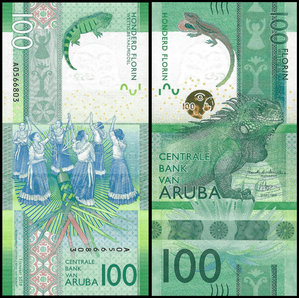 Aruba 100 Florin 2019 - Newest release colored in green featuring an iguana on the front and traditional dancers on the back