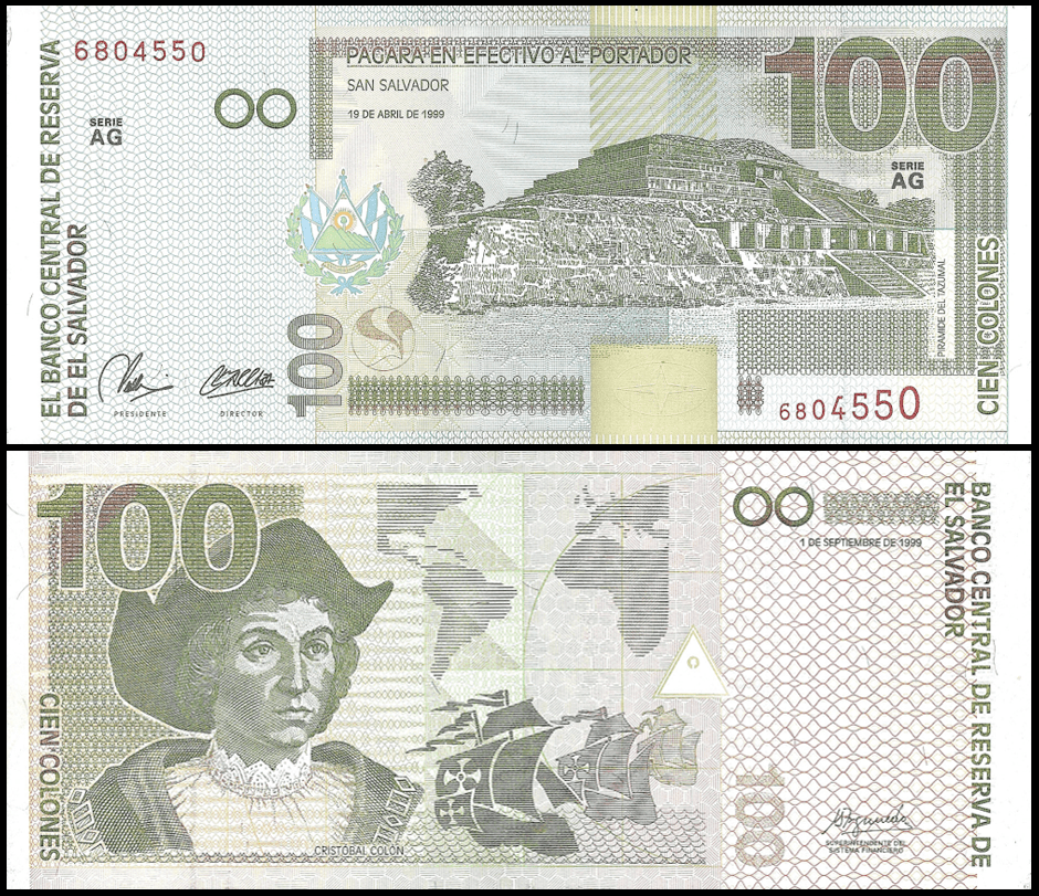 100 Colones banknote, 1999 featuring Christopher Columbus on the back