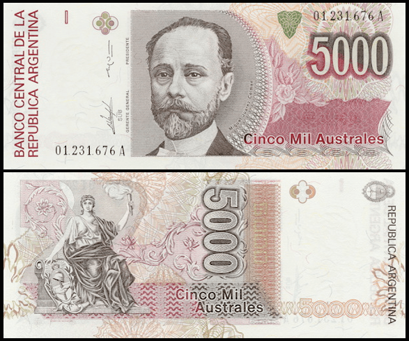Argentina 5,000 Australes featuring a traditional design with a person on the front and a portrait on the back