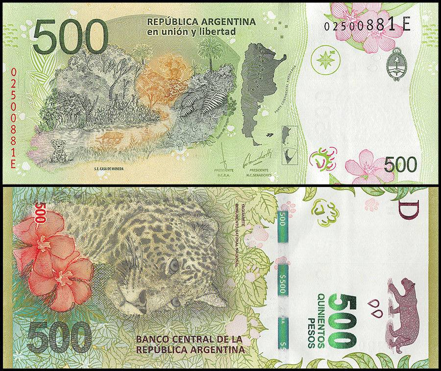 Argentina 500 Pesos, 2016. Colored in green featuring a jaguar and fauna