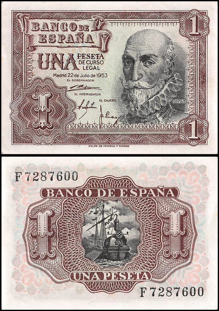 Spain 1 Peseta from 1953