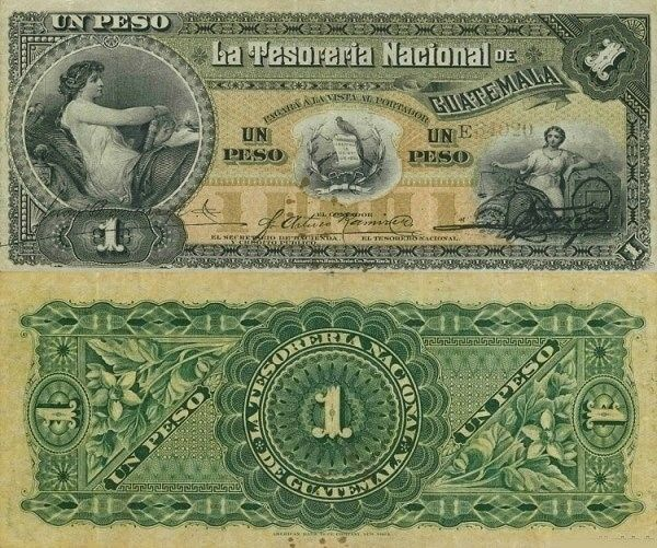 Guatemala 1 Peso banknote from 1882. Very first designs used.