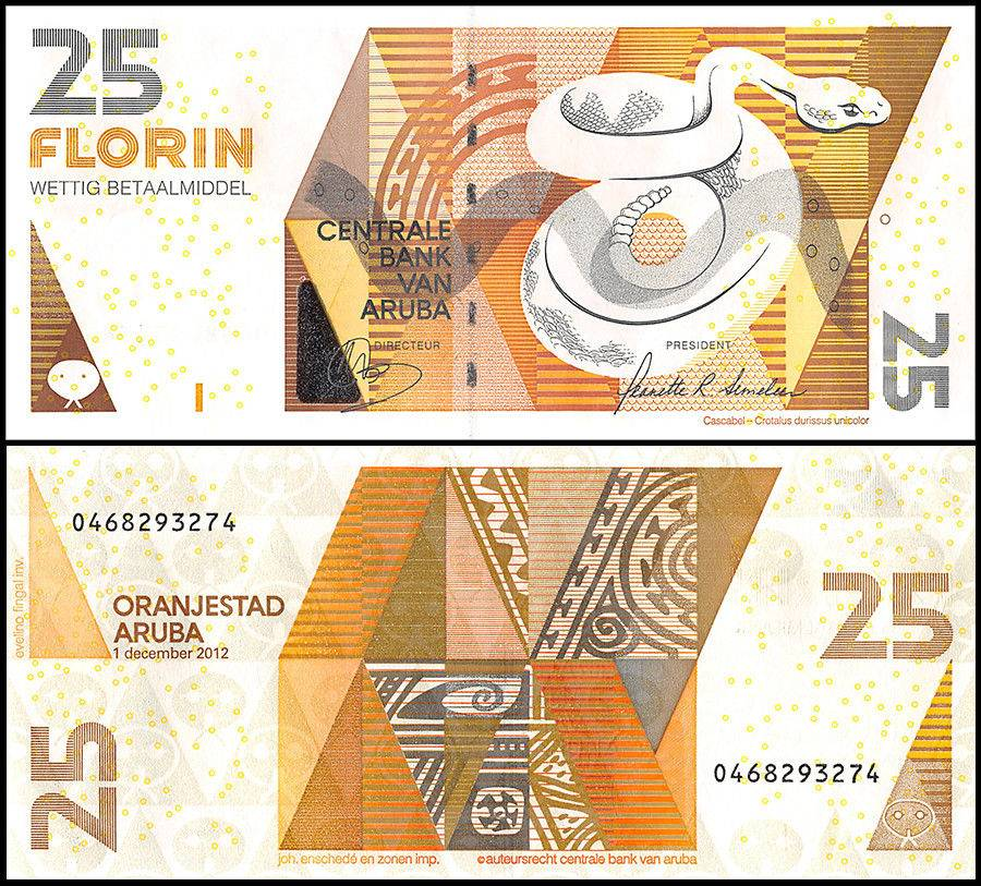 Aruba 25 Florin | 2012 | Colored in white and orange. It features a snake on the front