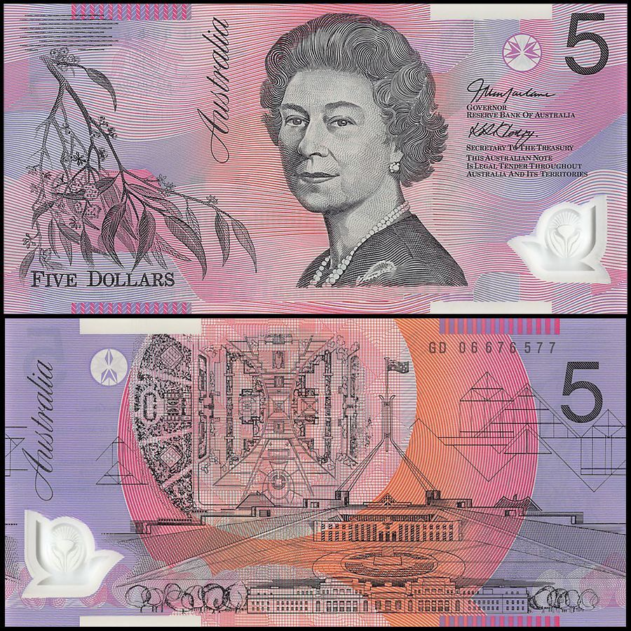 Australia 5 Dollars 2006 made out of polymer featuring the queen