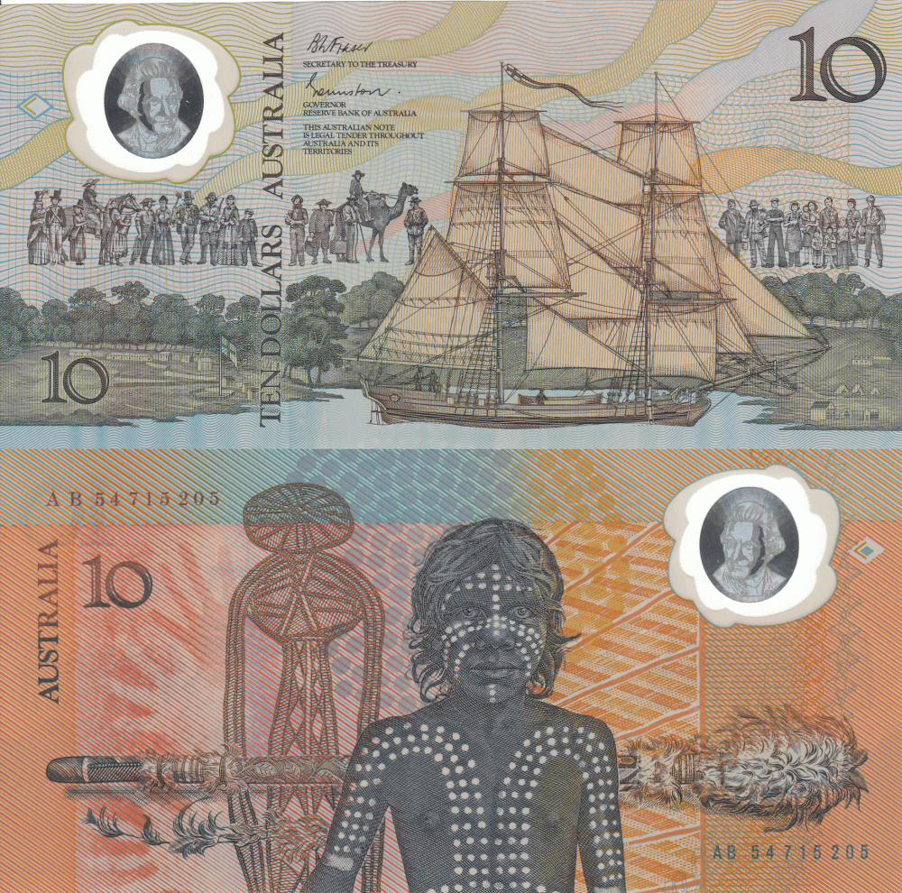 Australia 10 Dollars, 1988 commemorative made out of polymer