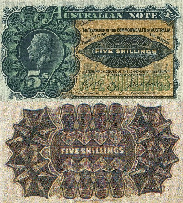 Australia 5 Shillings Banknote, 1916 colored in green, yellow and brown