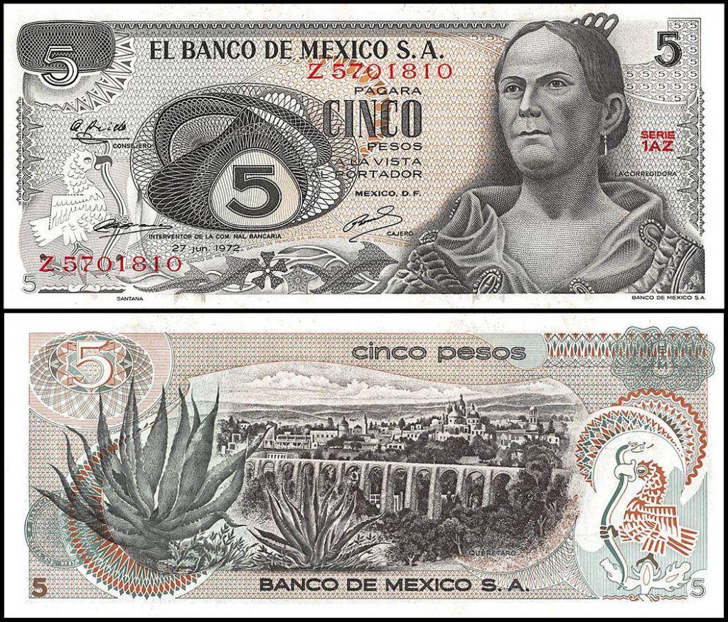 Mexico 5 Pesos | 1972 | P-62c | Series 1AZ |