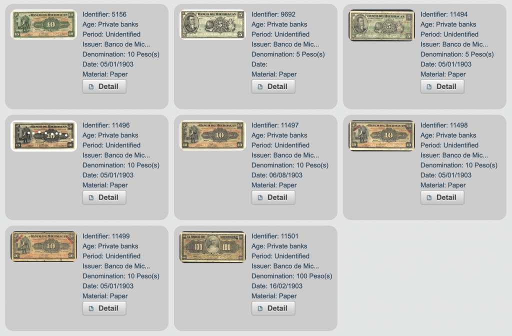 Collection of Mexican Currency Found on Banco de Mexico Digital Museum