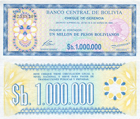 Bolivia 1 Million Pesos Bolivianos | 1985 | P-192Ca |