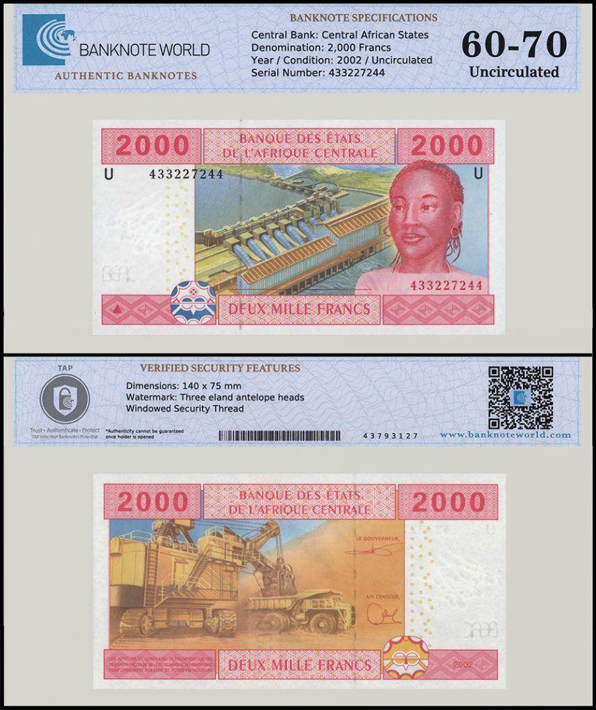 Central African States (Cameroon) 2,000 Francs   2002   New U - Prefix