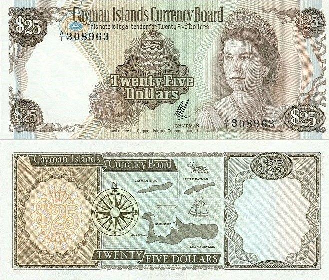 Cayman Islands 25 Dollars | 1971 | P-4 | First Series |