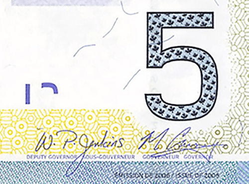 Signature on $5 Canadian Banknotes