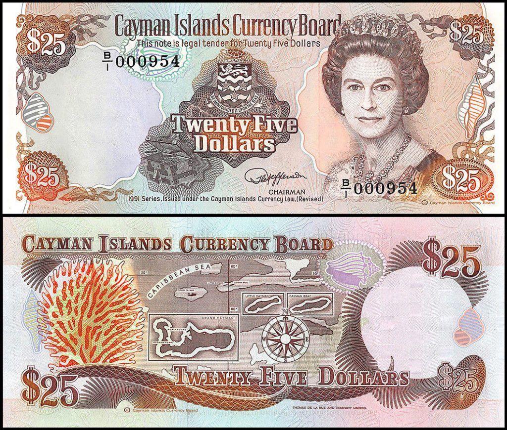 Cayman Islands 25 Dollars | 1991 | P-14 | Featuring Queen Elizabeth II |