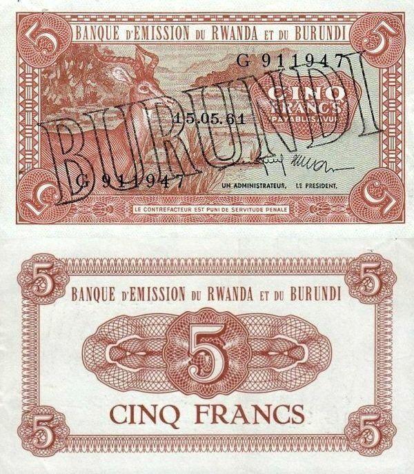 Burundi 5 Francs | 1964 | P-1a.1 | First Series of Burundi Banknotes