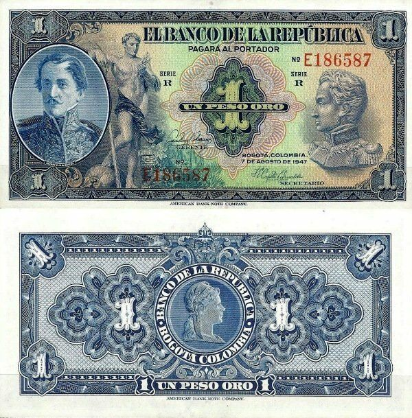 Colombia 1 Peso Oro   1947   P-380e.4  