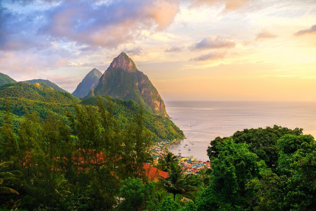 Sunrise over St Lucia one of the members of the East Caribbean States
