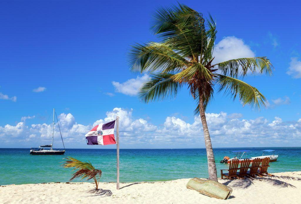 Dominican Republic Flag on the Beach