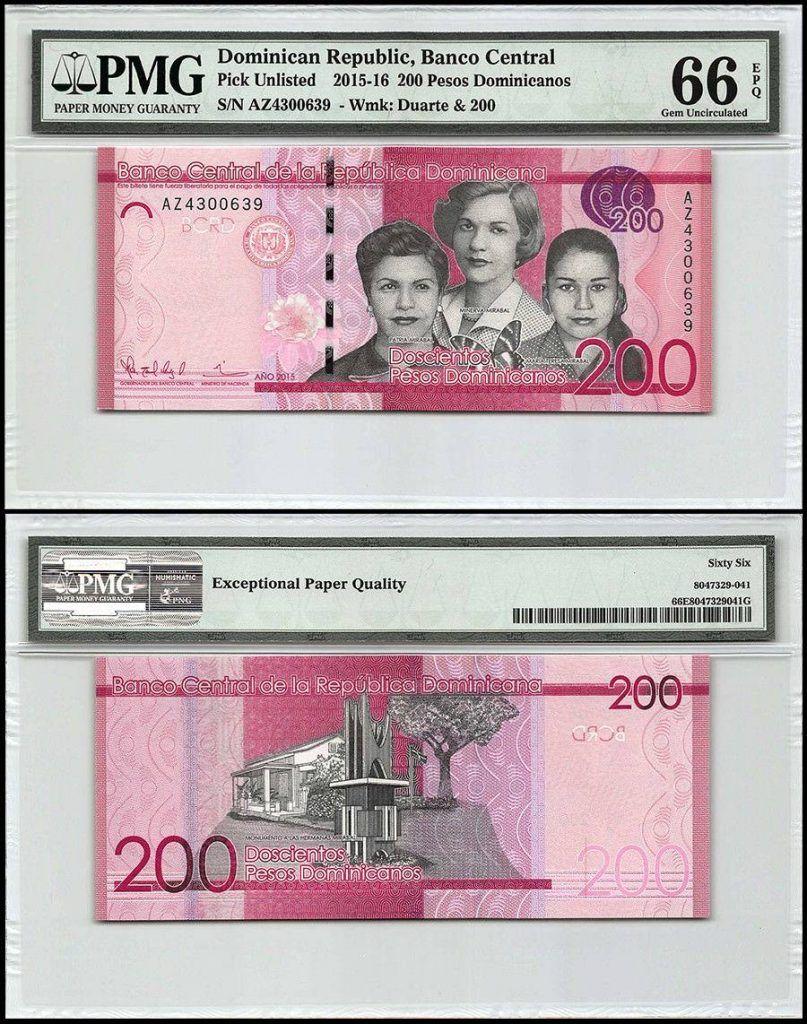 Dominican Republic 200 Pesos   2015   P-191b   PMG 66  