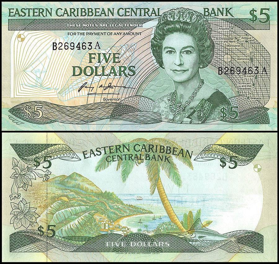 East Caribbean States | Antigua $5 Dollars | 1988-93 | P-22a1 | Queen Elizabeth II,