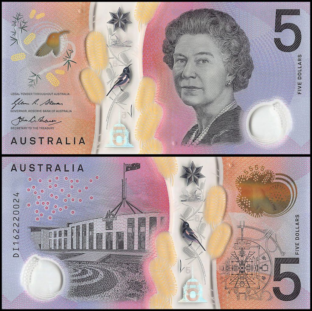 Australia 5 Dollars, polymer banknote features a partial transparent design