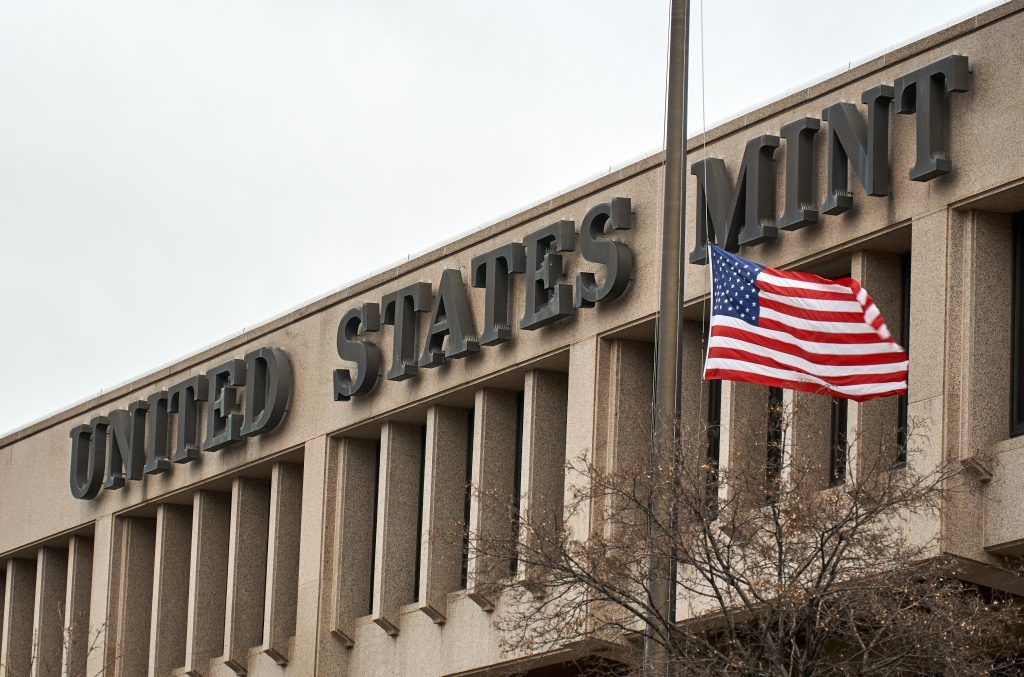 United States Mint building and flag
