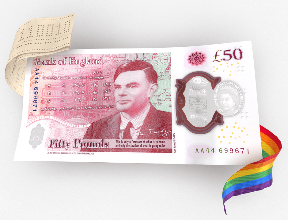 New UK Turing 50 Pound Banknote also featuring queen elizabeth II