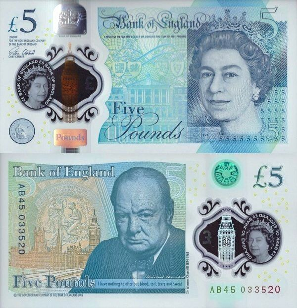 5 Pounds featuring Queen Elizabeth II and Winston Churchill