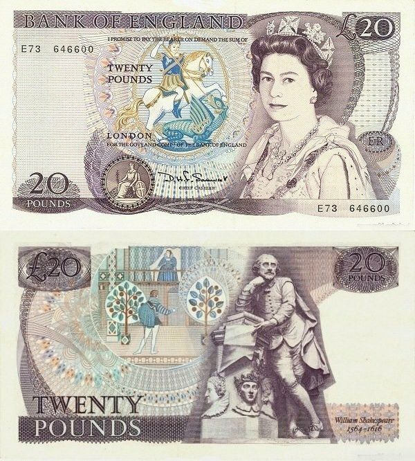 20 Pounds featuring Queen Elizabeth II and Shakespeare on the back