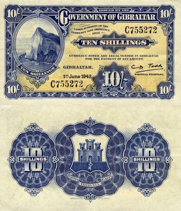 Gibraltar 10 Shillings | 1942 | P-14b.1 |