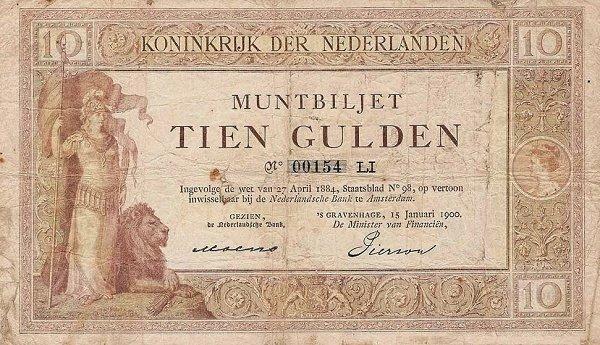 Netherlands 10 Gulden, 1898