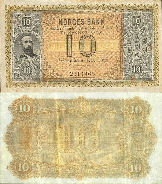 Norway 10 Kroner, 1877