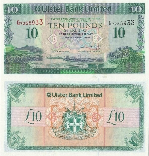 Northern Ireland 10 Pounds Sterling, 2008