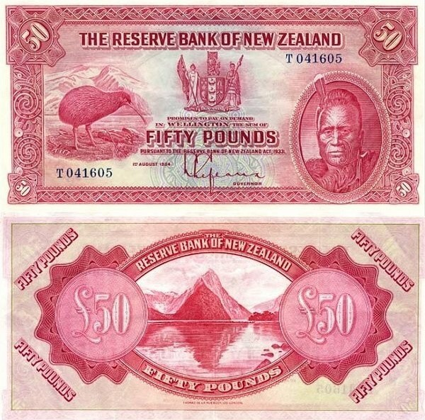 NZ 50 Pounds, 1934 one of the first issues