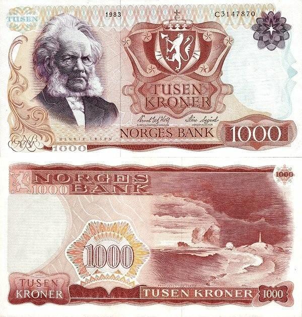 Norway 1,000 Kroner, 1983