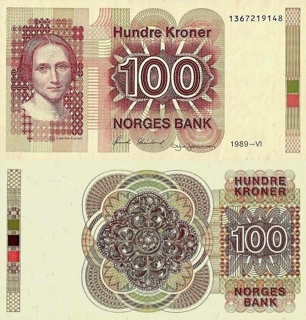 Norwegian 100 Kroner, 1989