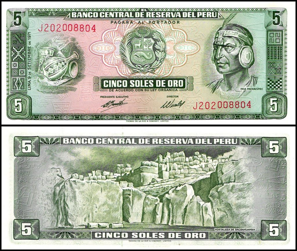 Peru 5 Soles De Oro, 1971 Printed by TDLR