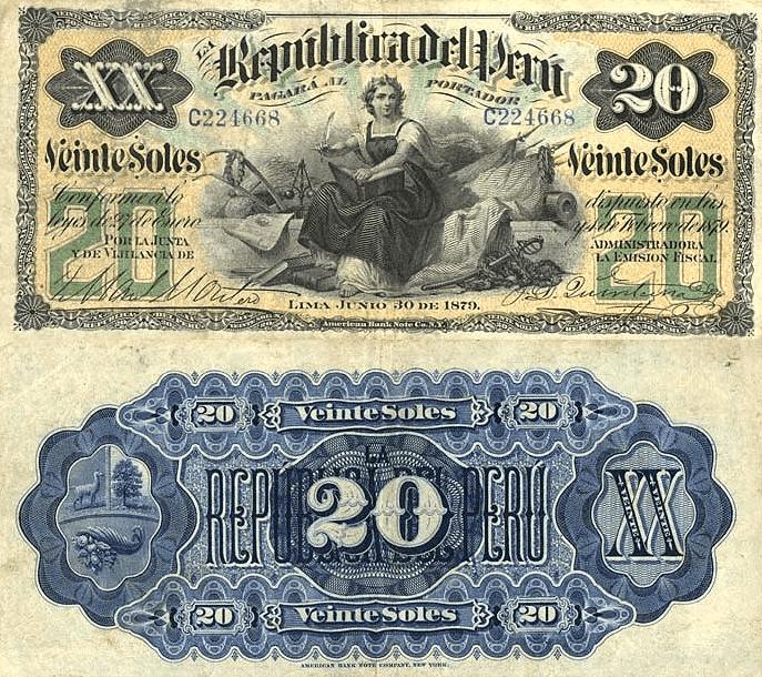 Peru 20 Soles, 1879