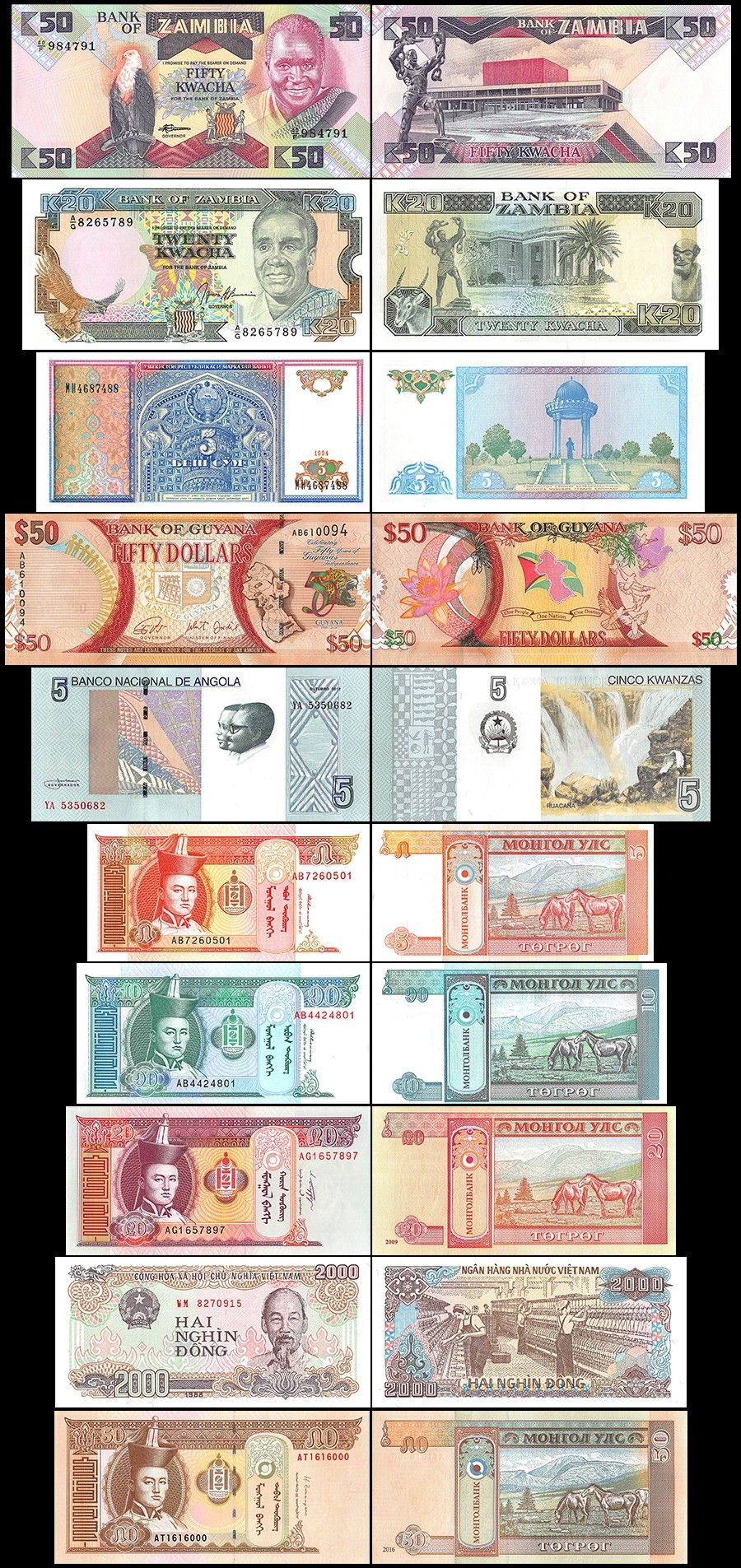 100 Pieces (PCS) of Different World MIX Foreign Banknotes