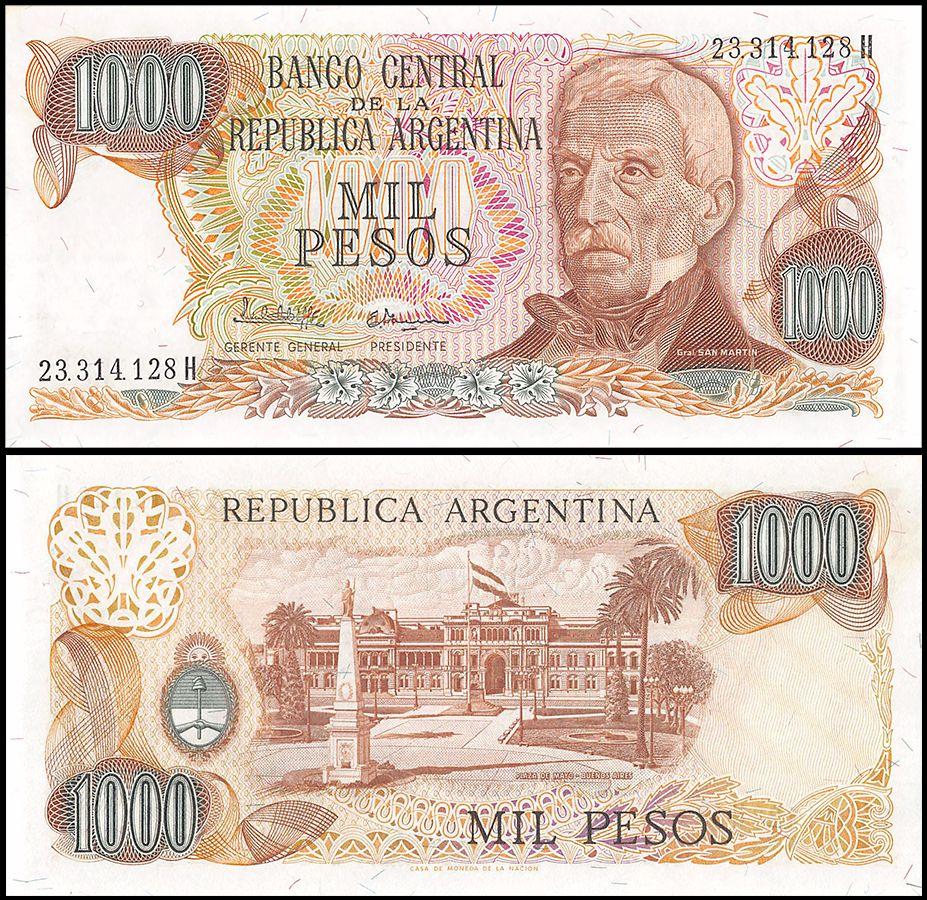 Circulated 279 Argentina 1000 Pesos 1966-69  VF  P Banknotes