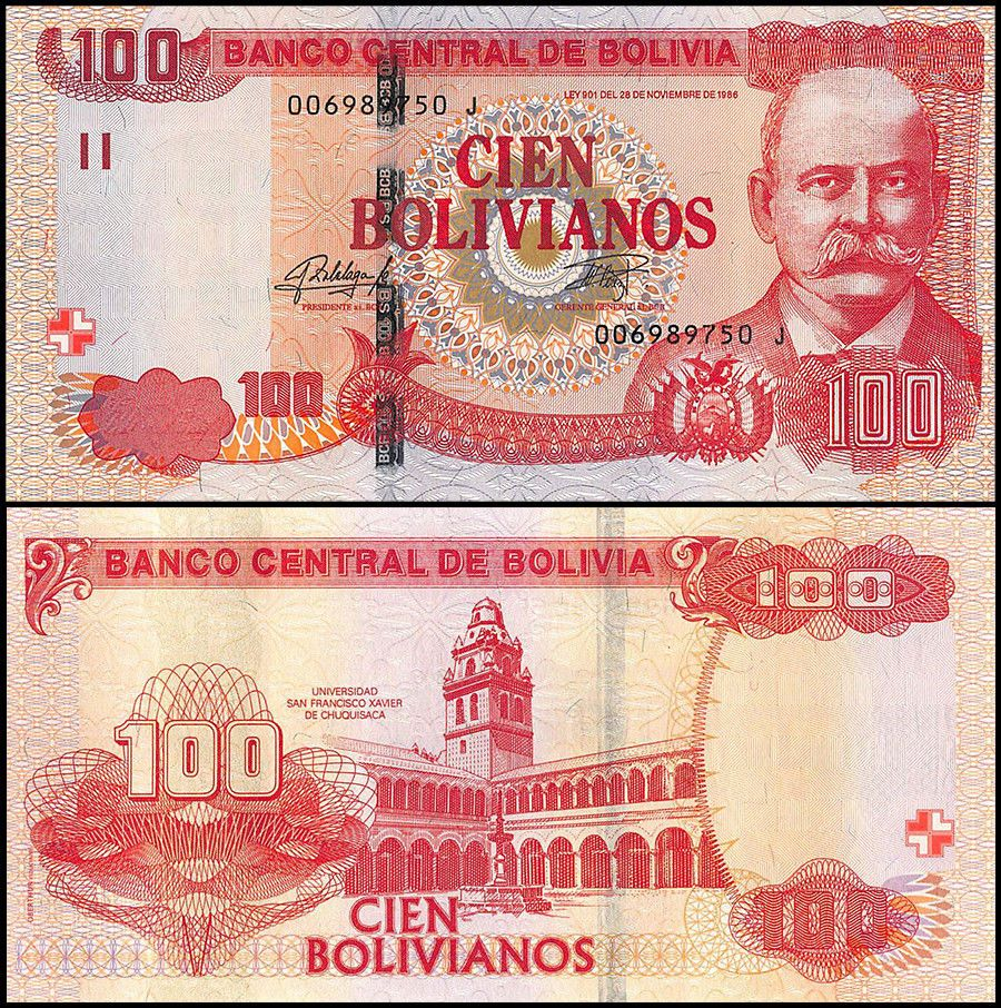BOLIVIA BANKNOTE 20 Bolivianos Series G2 P.131 XF 1928