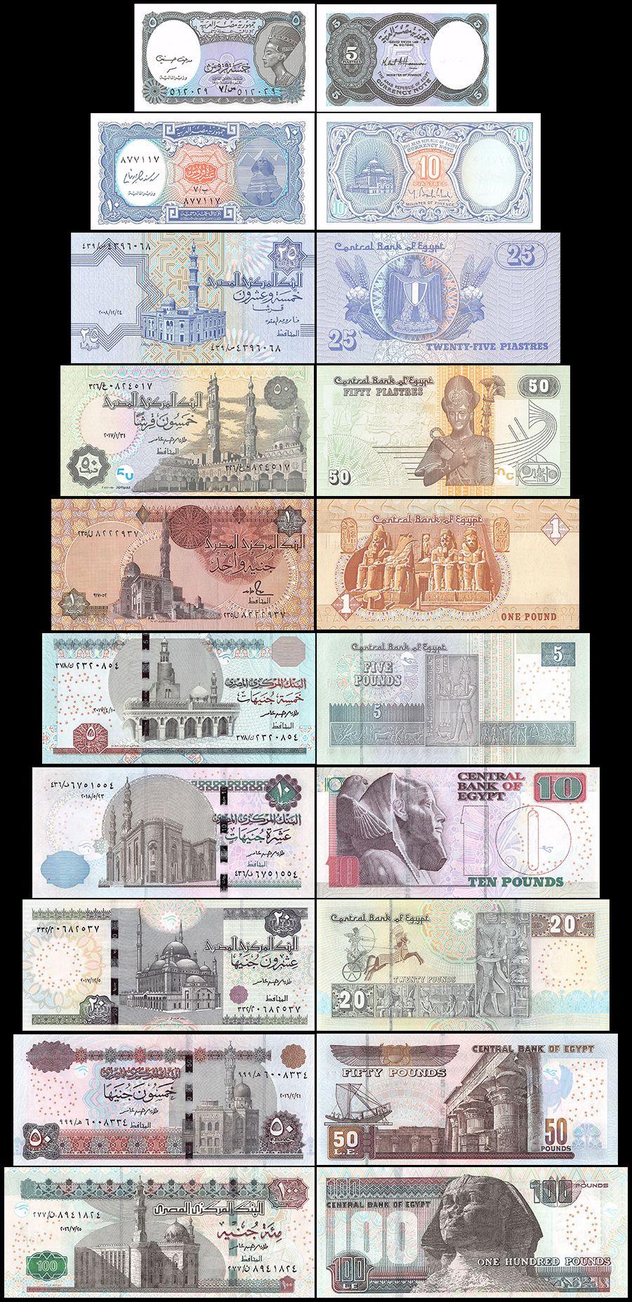 2002 L.1940 Unc //LA177 5 Pcs Set Egypt 5 10 25 50 Piastres /& 1 Pound