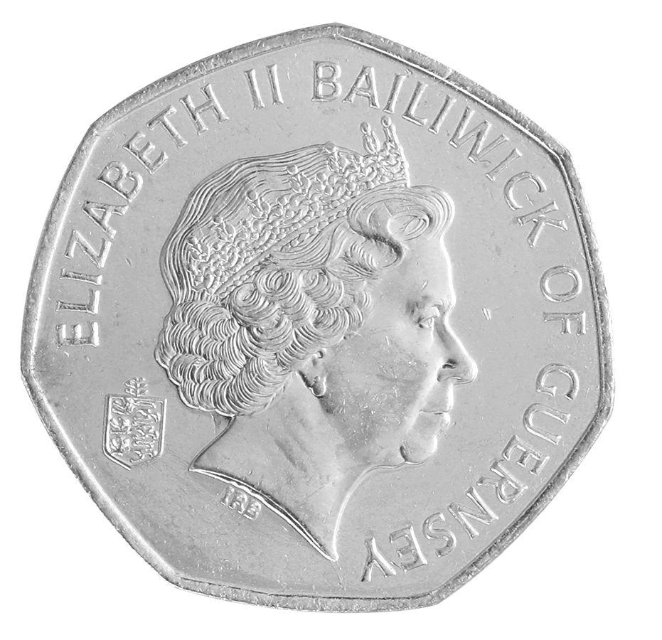 Guernsey 50 Pence 8 g Copper Nickel Coin, 2008, KM # 156, Mint, Queen  Elizabeth II, Plants