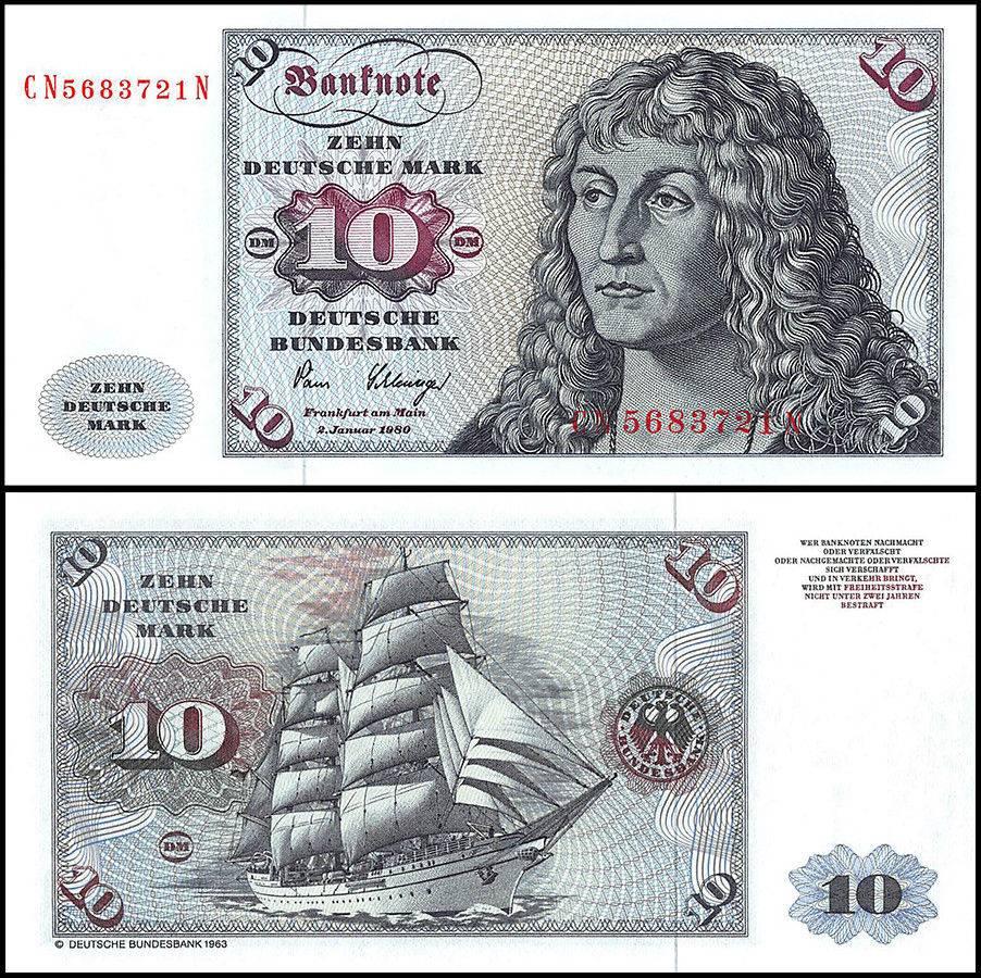 Germany 10 Deutsche Mark Banknote 1980 P 31d Unc Sailing Ship Albert Durer